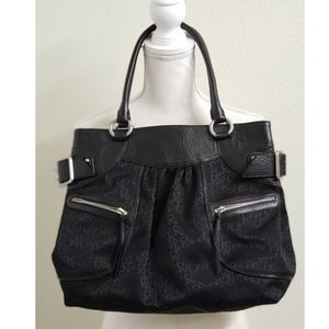 DKNY - Monogram, Black Leather and Fabric Handbag